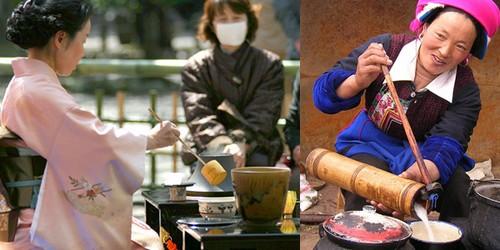 Слева японка в кимоно, справа монгольская девушка чай готовит
