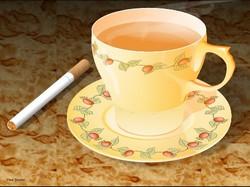 Чашка чая, сигарета