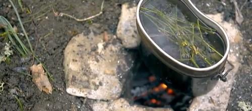Котелок с собранными побегами на огне